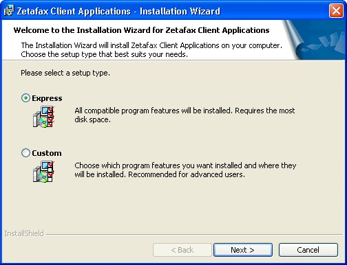 Installing the Zetafax Client Applications